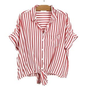 BeachLunchLounge Candy Stripe Tied Crop Red White